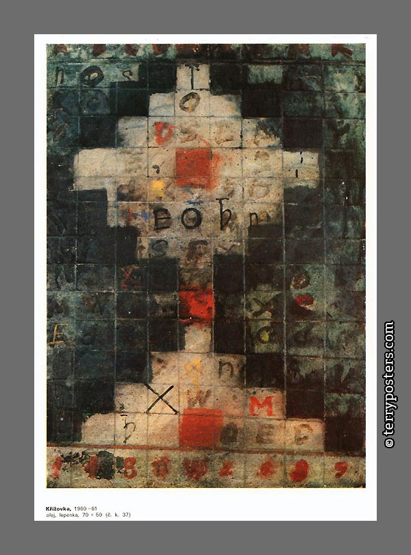 Cross: oil, tape: 70 x 50 cm; 1960-61