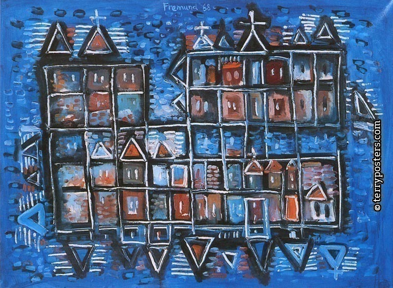 Village by the sea: oil, screen 70x98cm; 1968