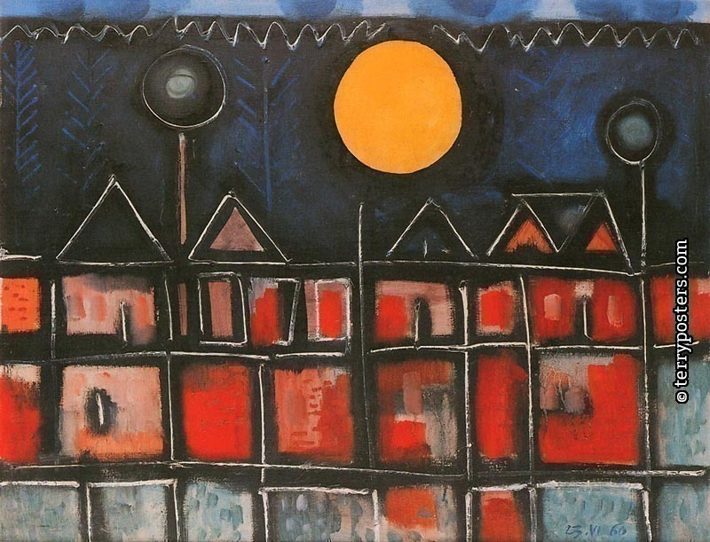 Landskape with moon:: oil, screen 73x92 cm; 1960