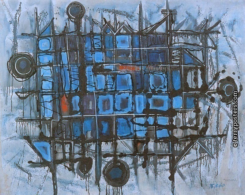 Blue composition: oil, screen, paint 125x154cm; 1960