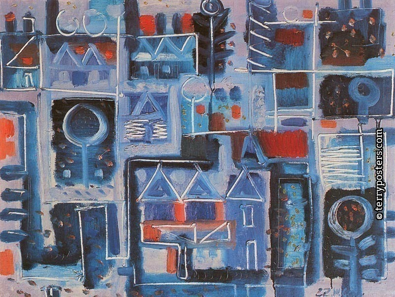 Blue village: oil, screen 73x92cm; 1960