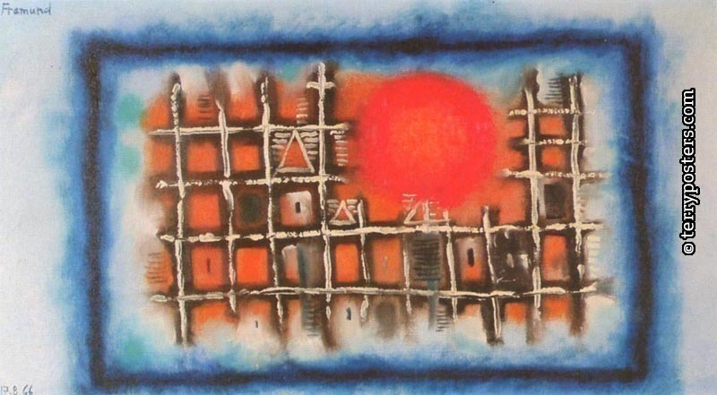 Landskape with sun: oil, screen 44x79 cm; 1966