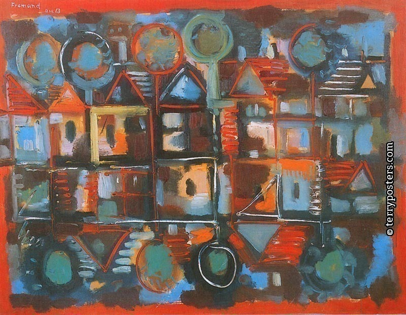 Red village: oil, screen 89x116 cm; 1963