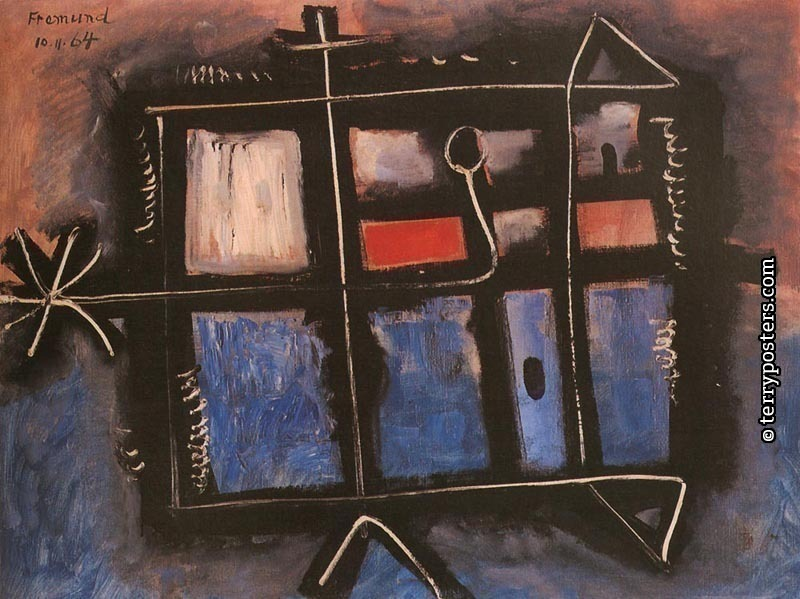 Landskape with red: oil, screen: 76 x 90 cm; 1964