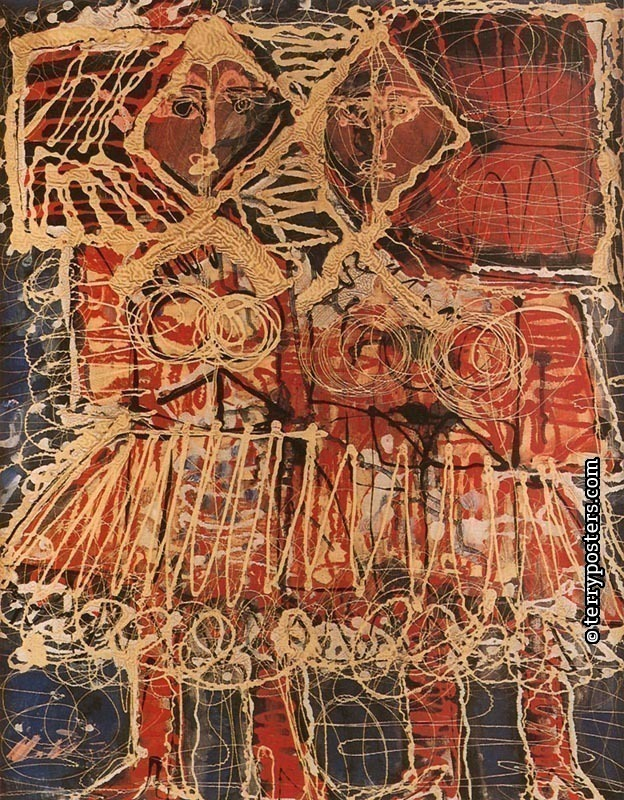 Twi women: oil, screen: 70 x 55 cm; 1959