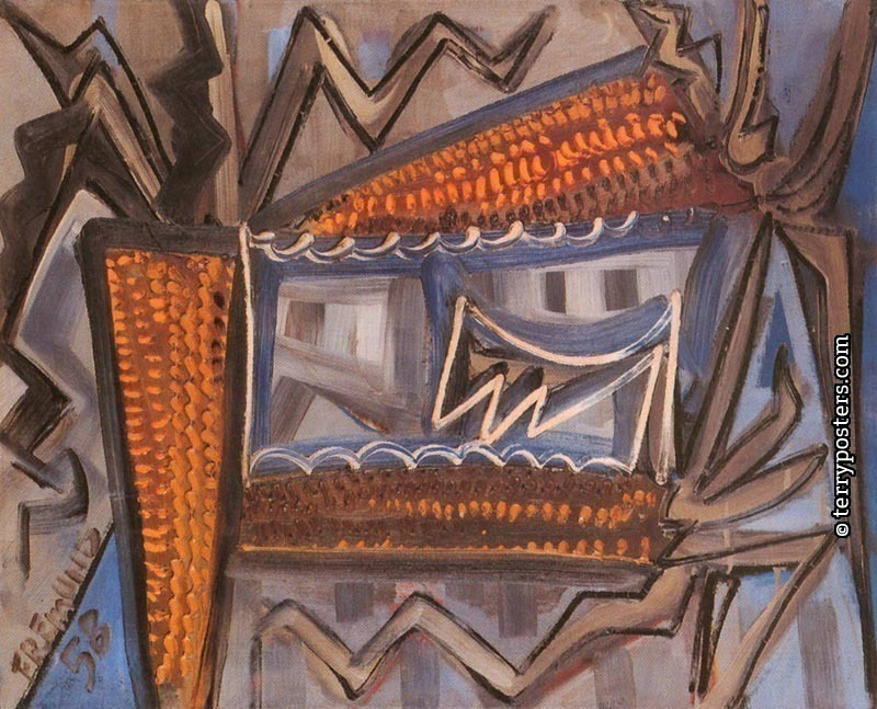 Retreat with corn: oil, screen : 53 x 65,5 cm; 1958