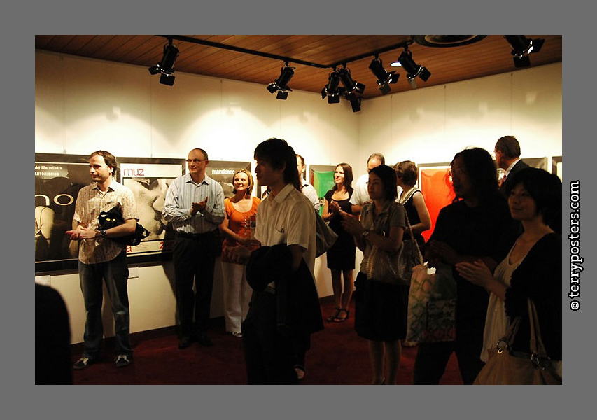 Photo of opening exhibition movie posters Milan Grygar in Tokio 2009