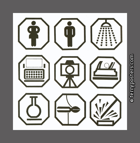 Pictograms for a building of research institutes Brno; 1986